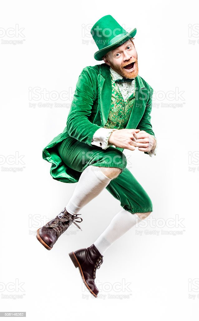 Dancing Leprechaun Man on Saint Patricks Day stock photo