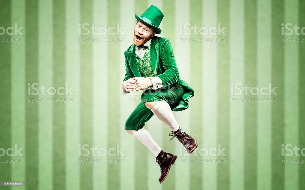 Dancing Leprechaun Man on St. Patricks Day stock photo