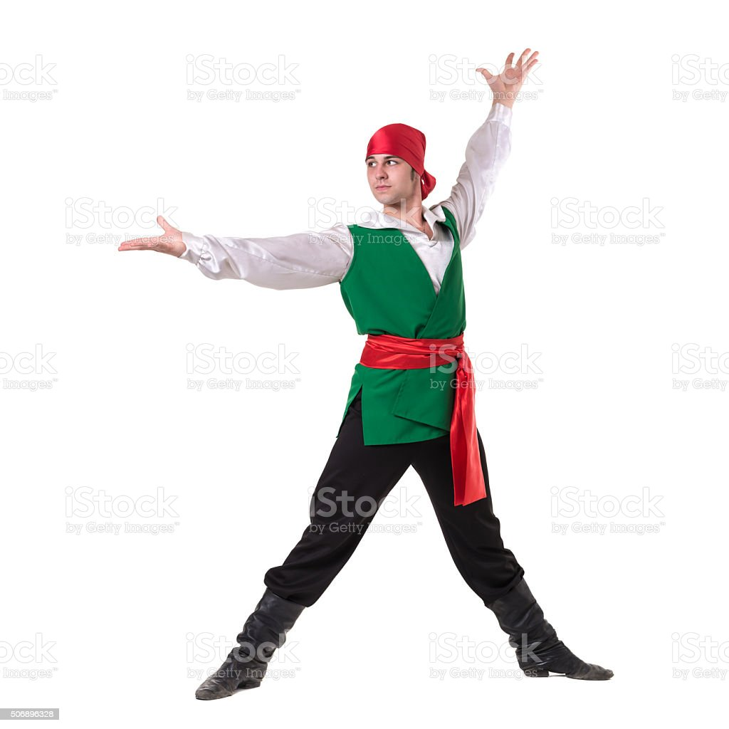 Dancing man wearing a pirate costume, isolated on white in stock photo