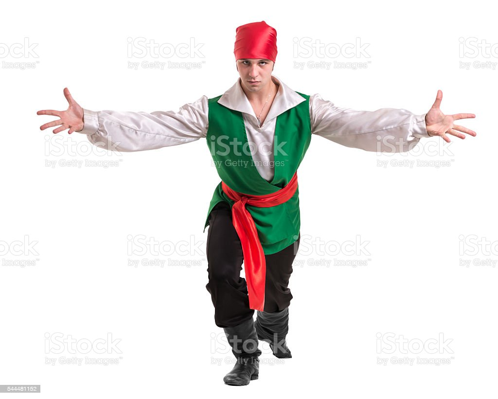 Dancing man wearing a pirate costume. Isolated on white in stock photo