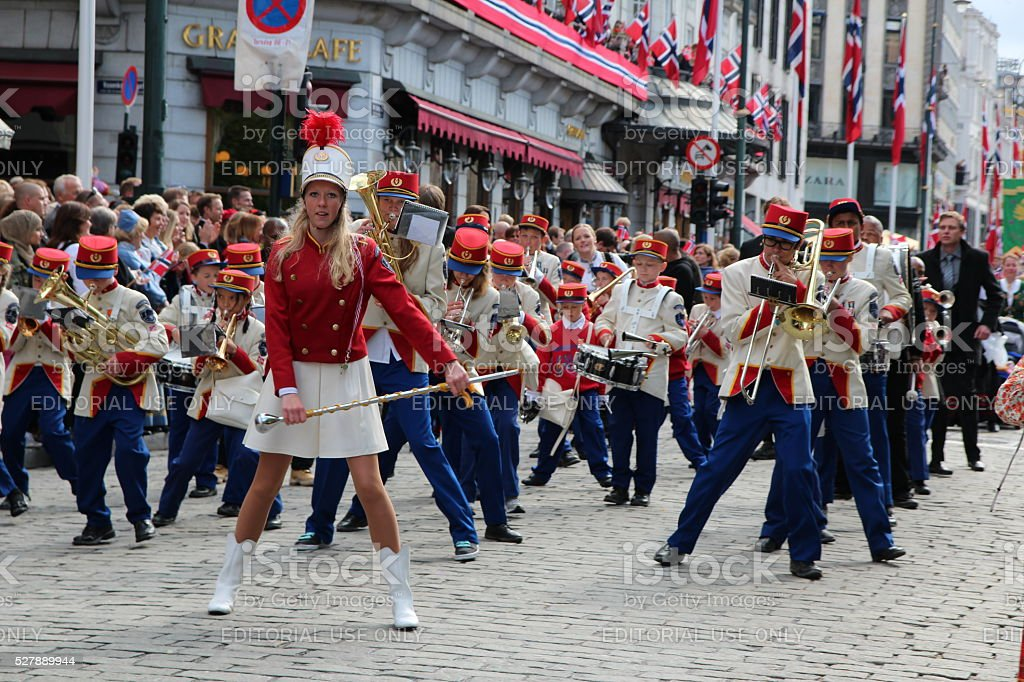 Dancing marching band National day parade Norway 17th of may stock photo