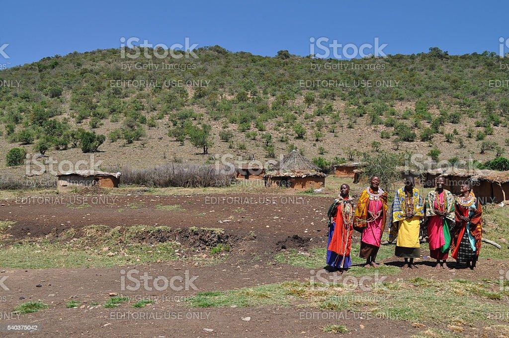 Dancing Masai women stock photo