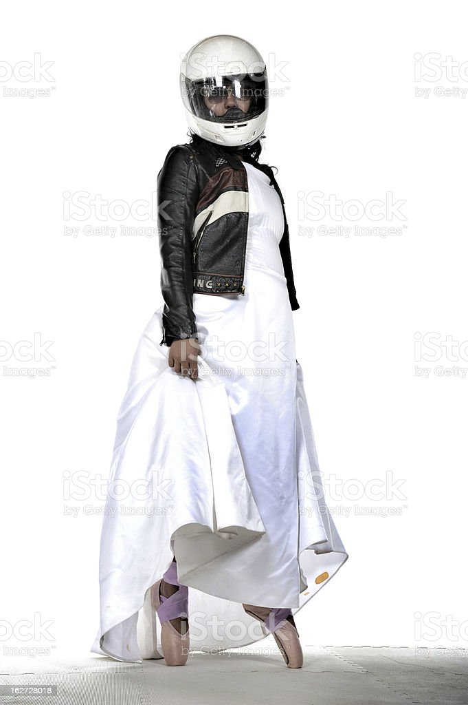 Dancing Motorcycle Bride stock photo