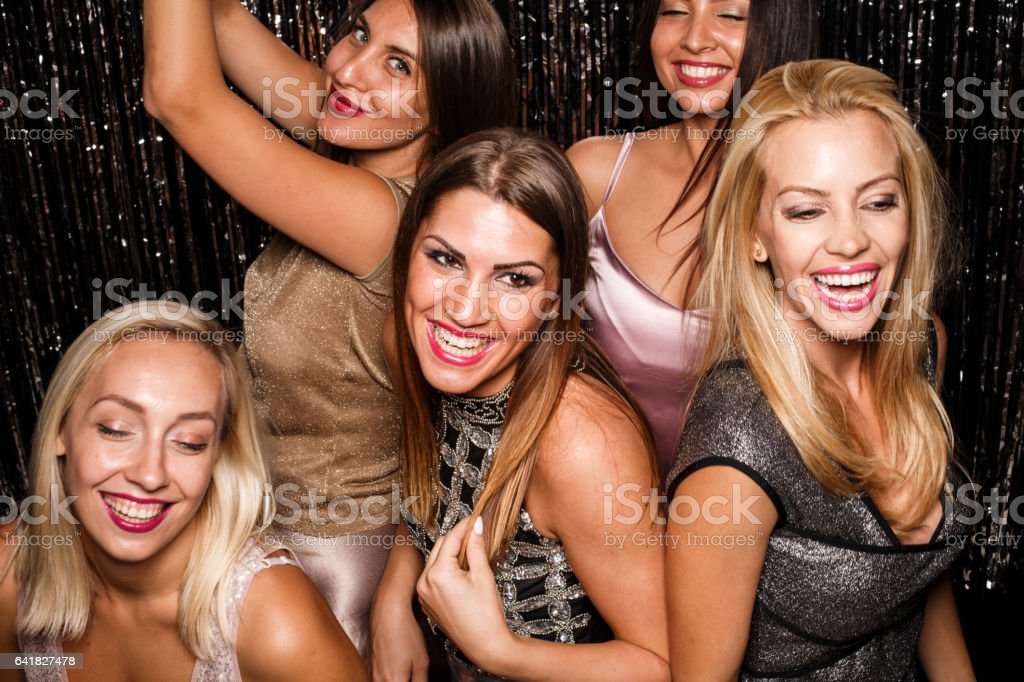 Dancing on a party with friends stock photo