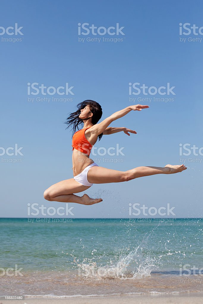 dancing on the beach royalty-free stock photo