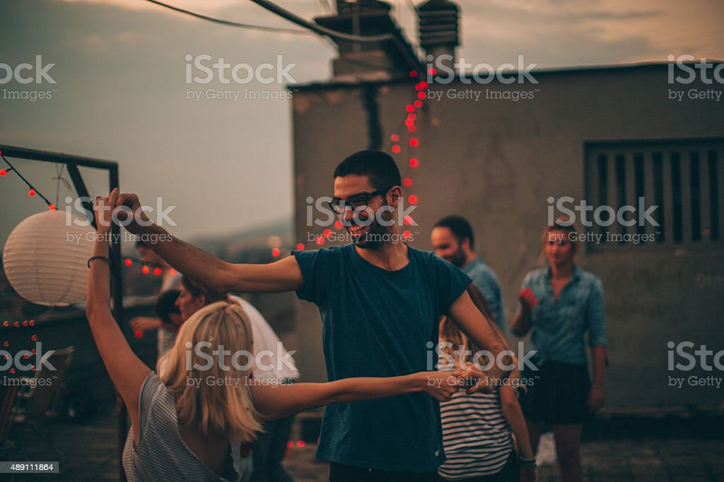 Dancing on the rooftop stock photo