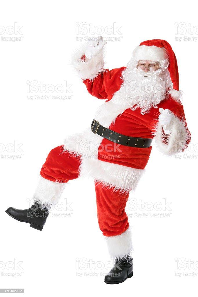 Dancing Santa (on white) royalty-free stock photo