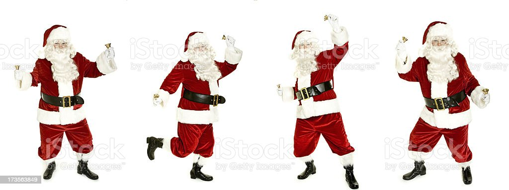 Dancing Santa with bell isolated on white stock photo