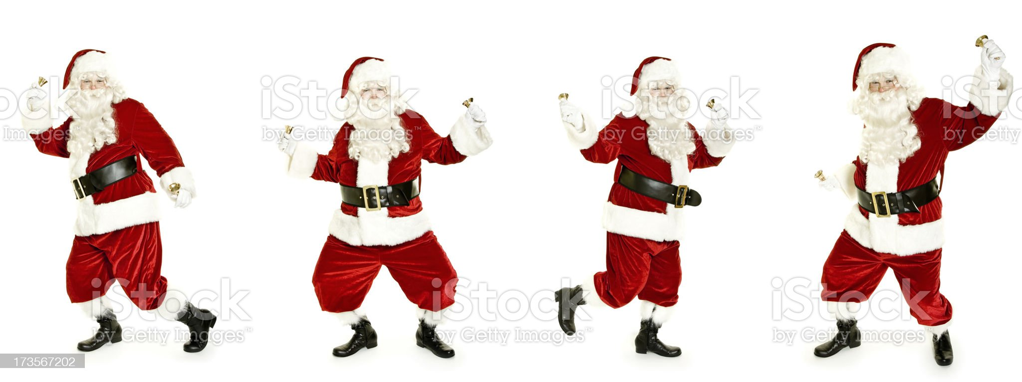 Dancing Santa with bell isolated on white royalty-free stock photo