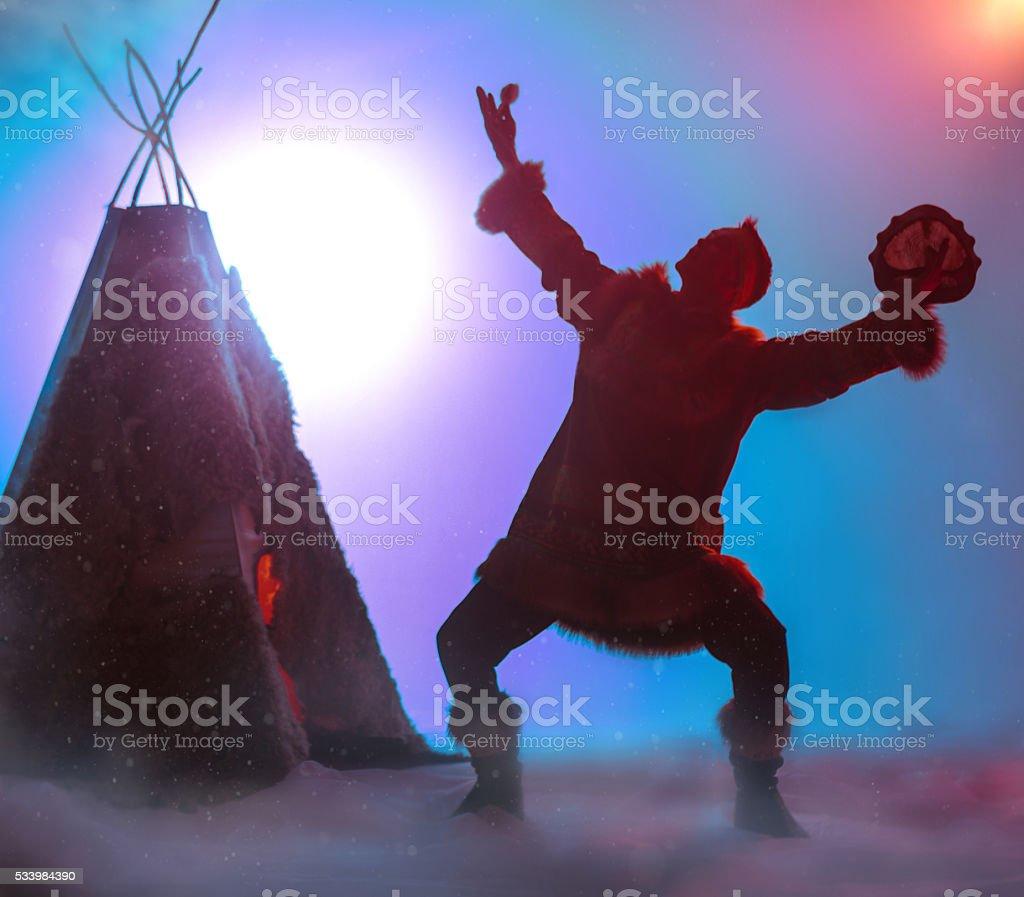Dancing Shaman stock photo