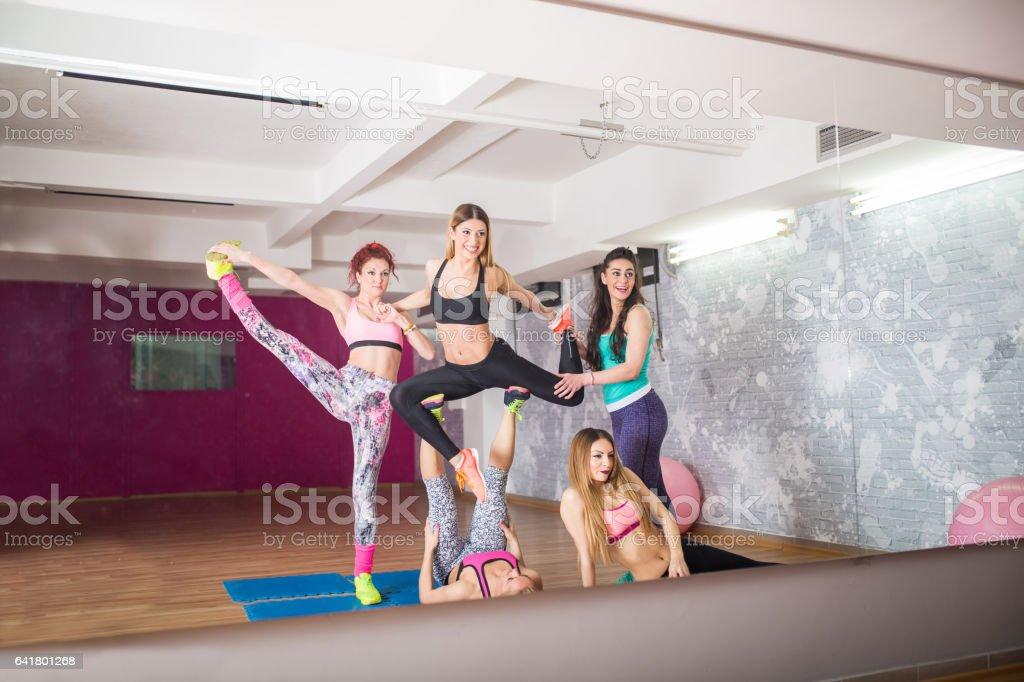 Dancing team stock photo
