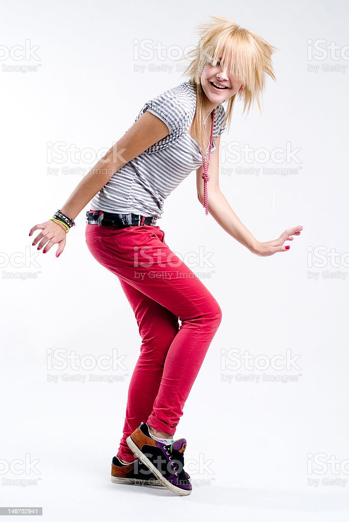 Dancing teenage girl royalty-free stock photo