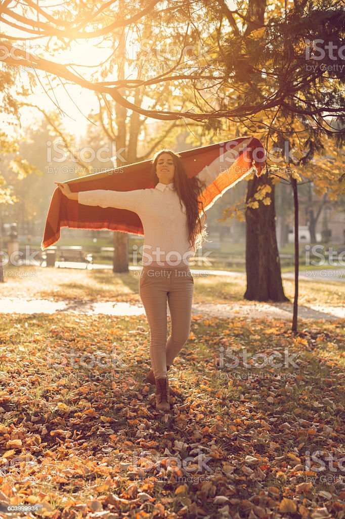 Dancing to fall stock photo