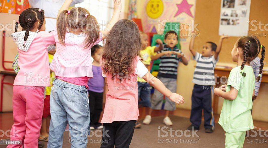 Dancing to get rid of all the energy! stock photo
