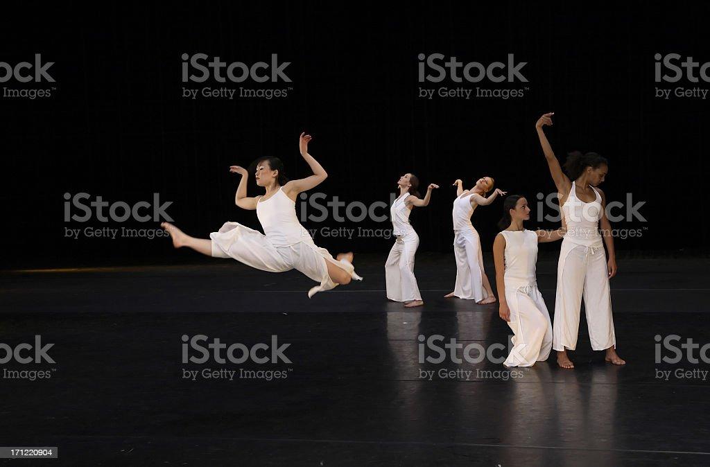 Dancing to music like wild swans stock photo