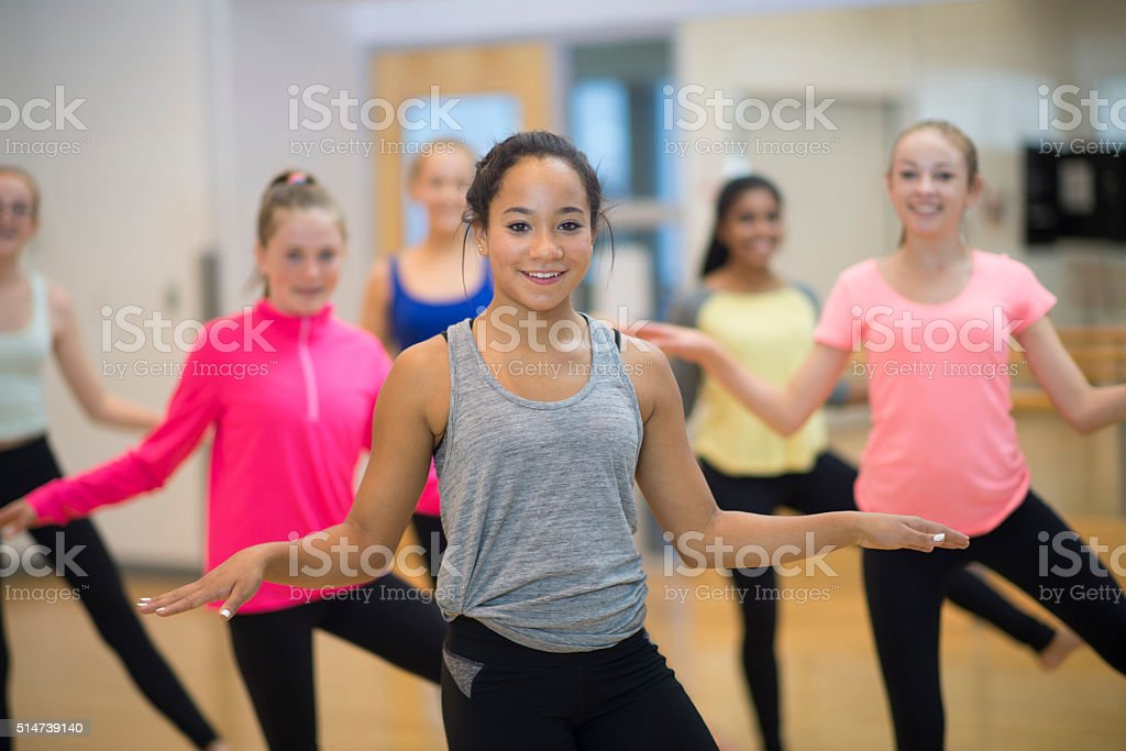 Dancing Together at the Gym stock photo
