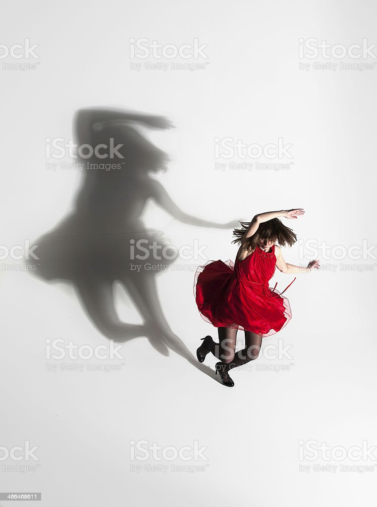 Dancing with a shadow stock photo