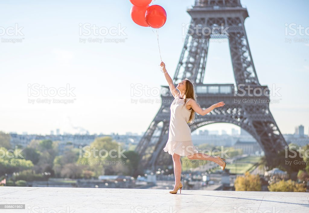 Dancing with baloons stock photo