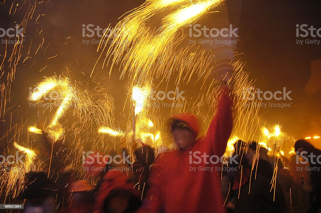 Dancing with fire stock photo