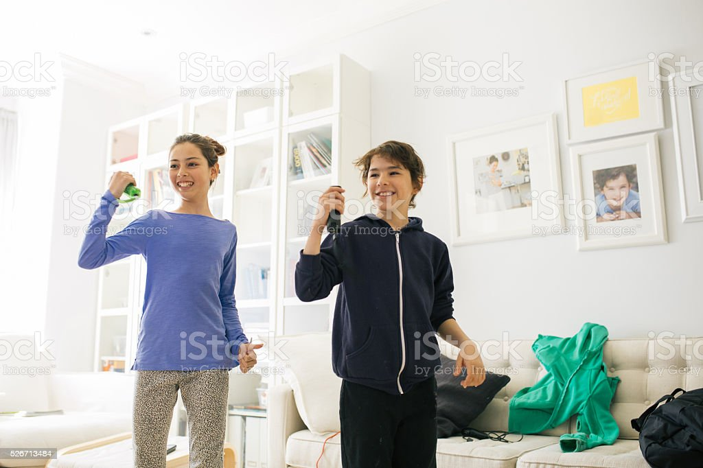 Dancing with gadgets stock photo