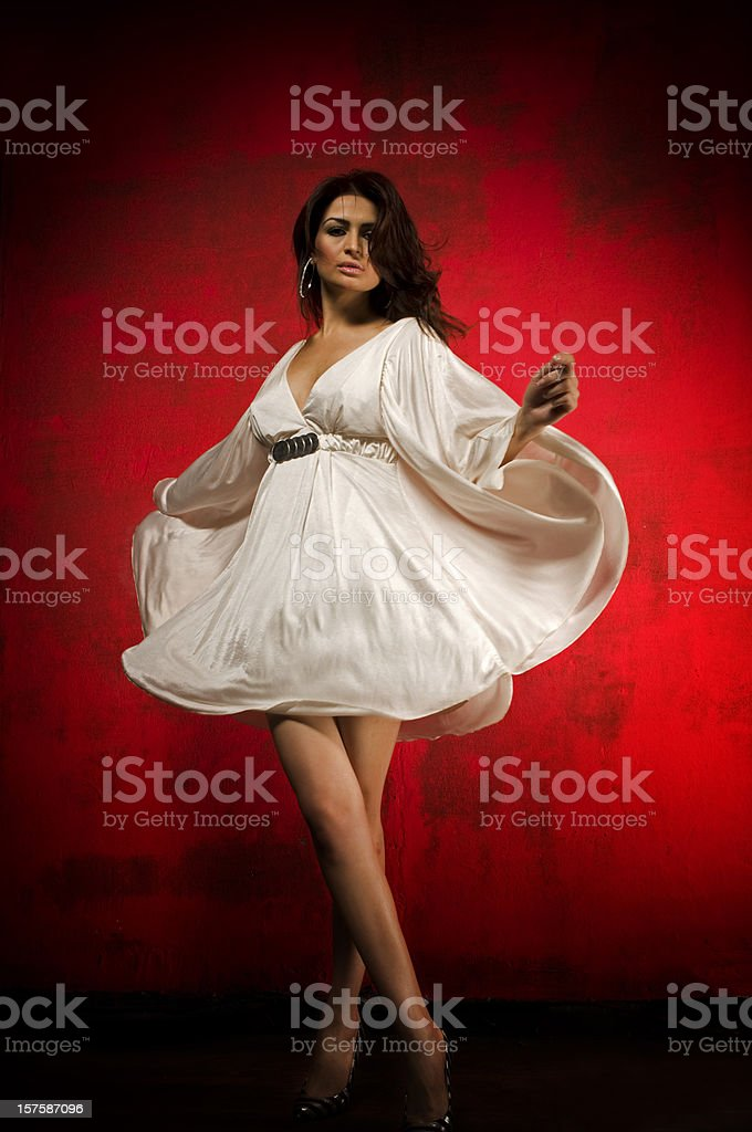 Dancing woman with white dress royalty-free stock photo
