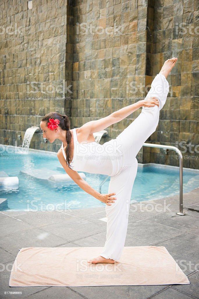 Dandayamana Dhanurasana - yoga pose stock photo