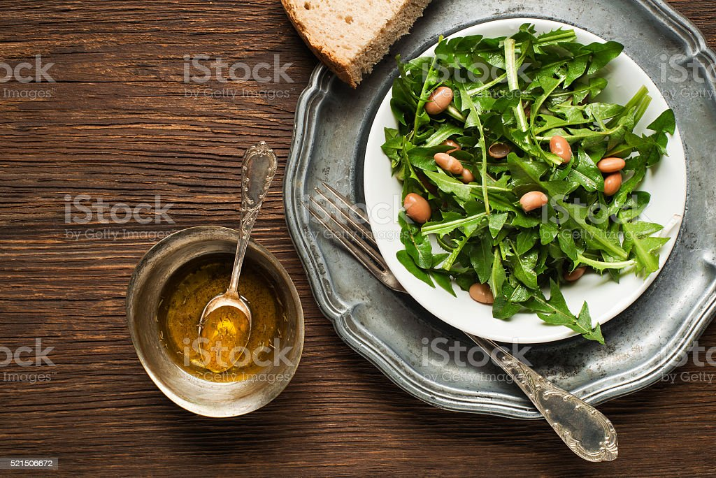Dandelion salad stock photo