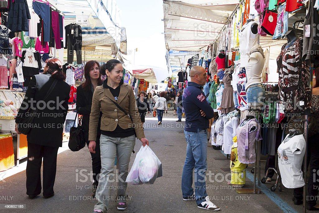 Dandering on market in Varese royalty-free stock photo