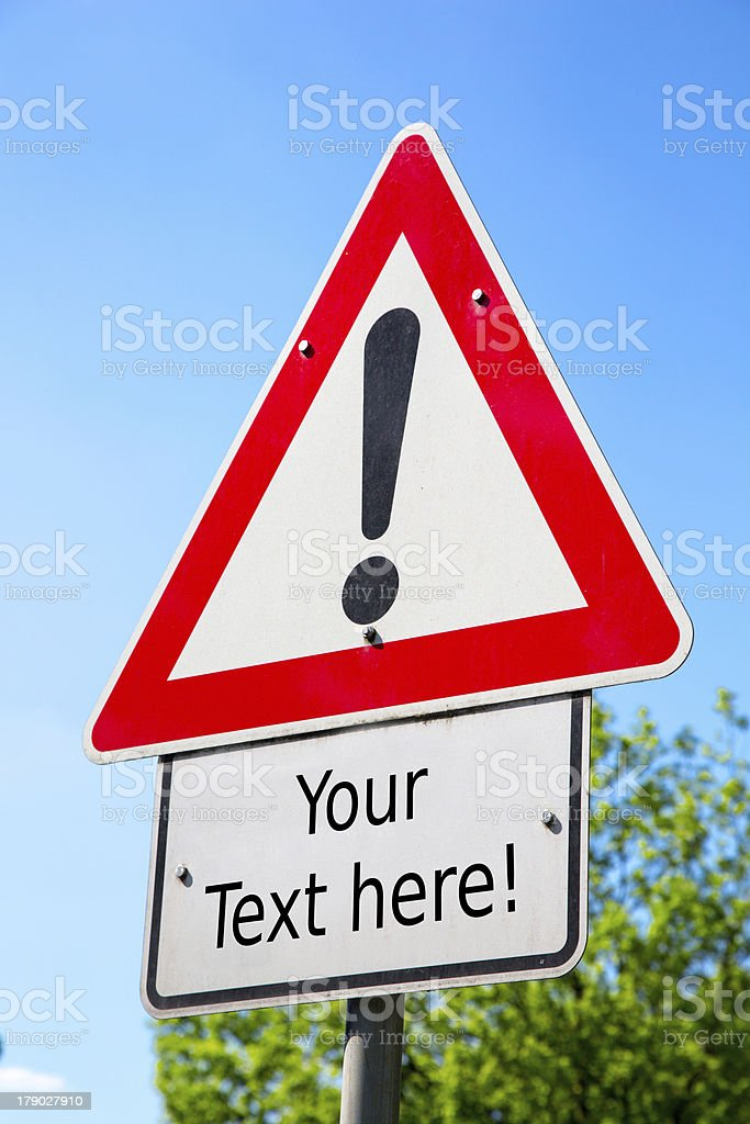 Danger ahead roadsign to raise attention royalty-free stock photo