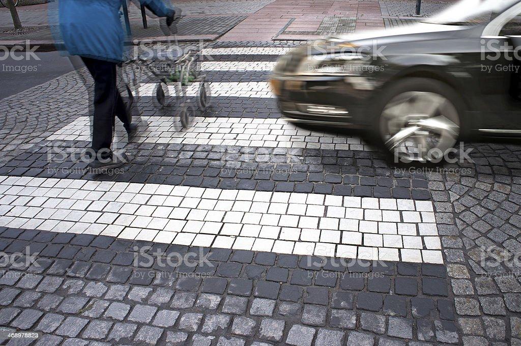 danger at pedestrian crossing stock photo