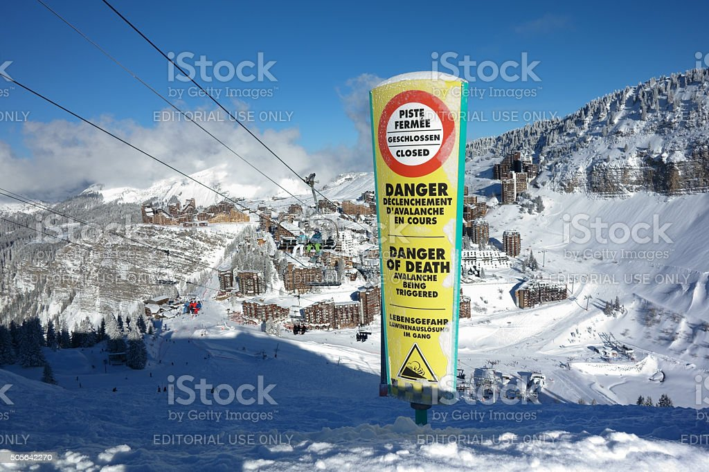 Danger Avalanche warning sign on ski piste. stock photo