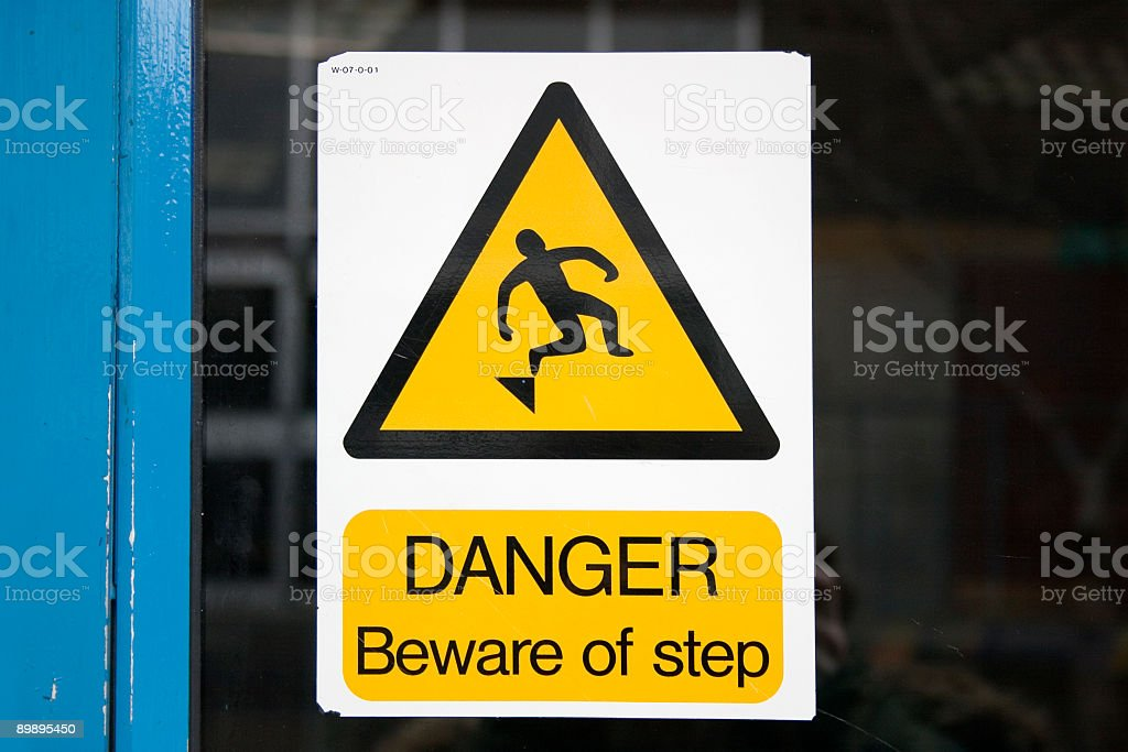 danger beware of step royalty-free stock photo