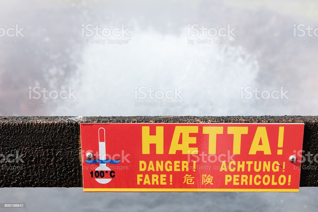Danger - boiling watter sign stock photo