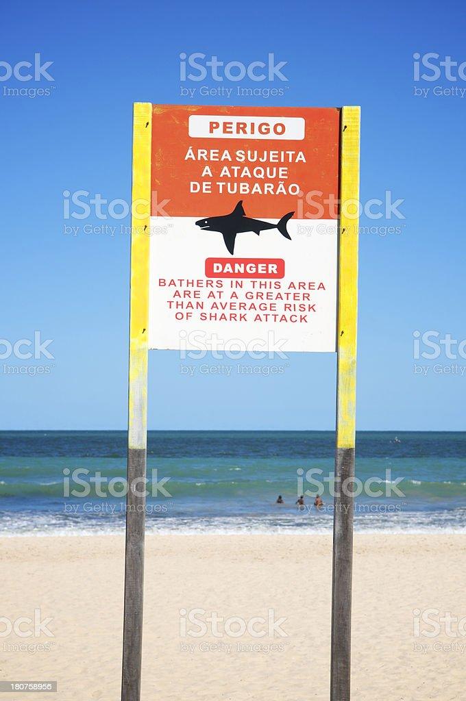 Danger Brazilian Shark Attack Sign Clear Sky Beach Brazil stock photo