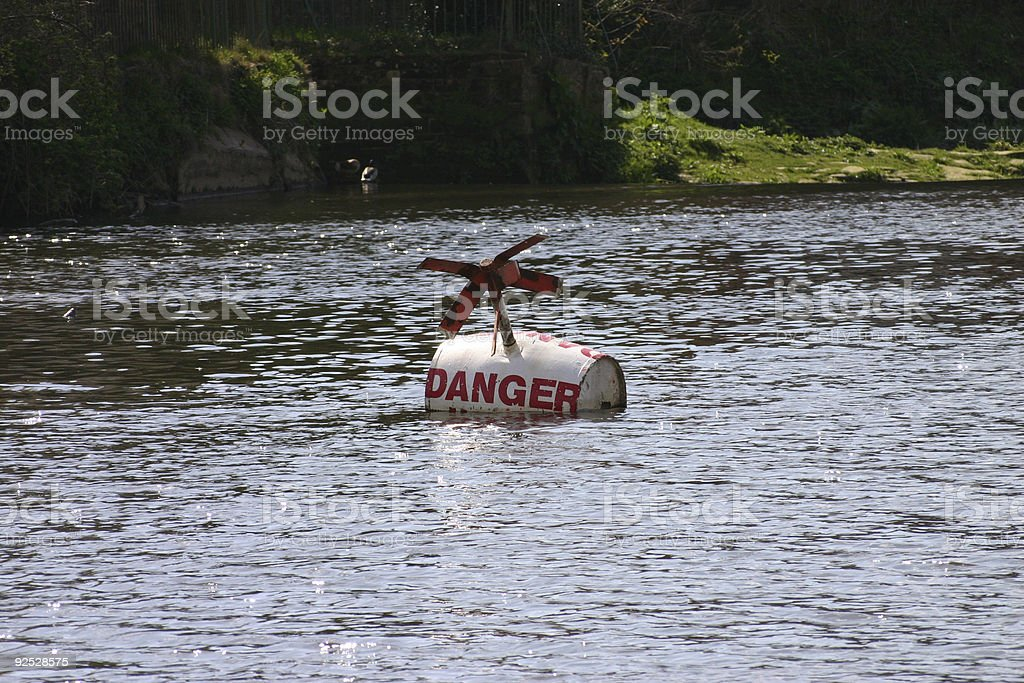 Danger Buoy on River Dee royalty-free stock photo