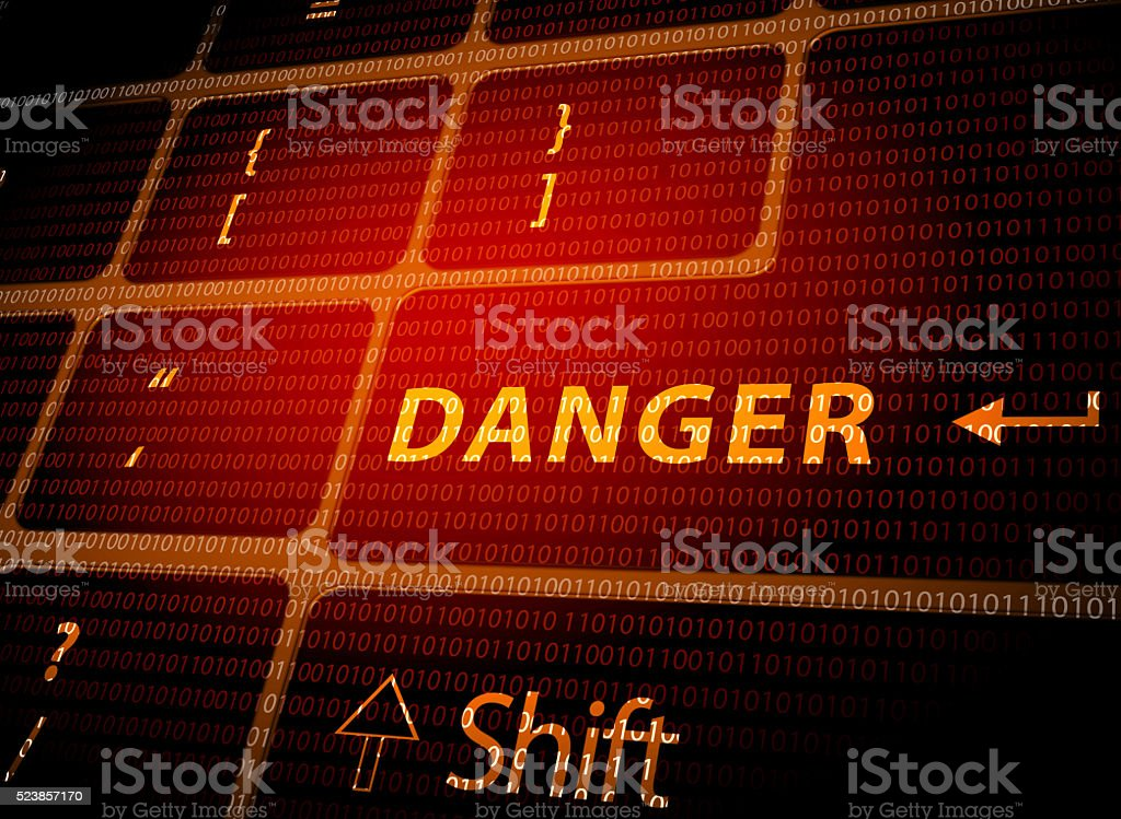 Danger button on computer keyboard stock photo