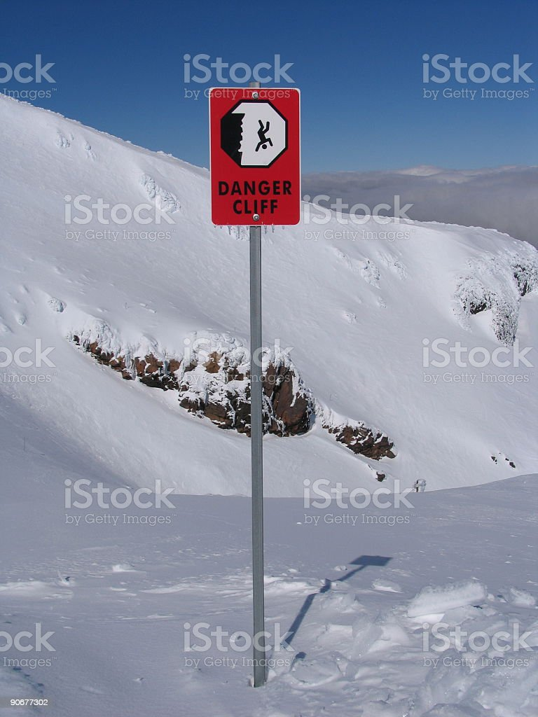 Danger Cliff Ski Sign stock photo