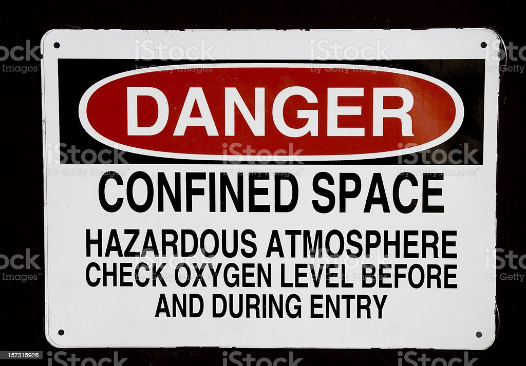 Danger confined space sign stock photo
