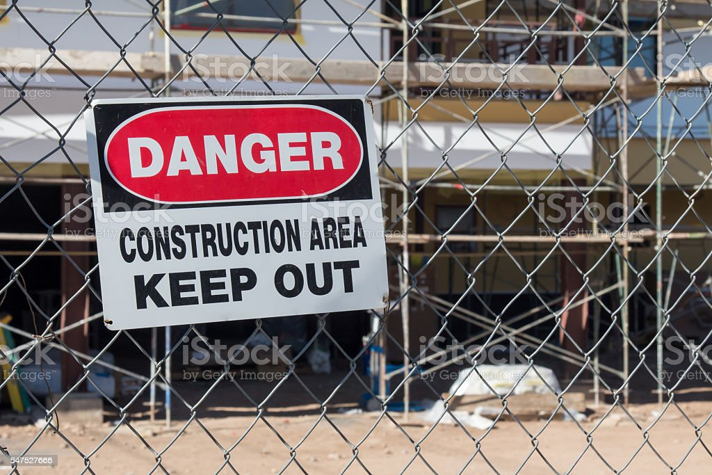 Danger contruction area sign at a construction site stock photo