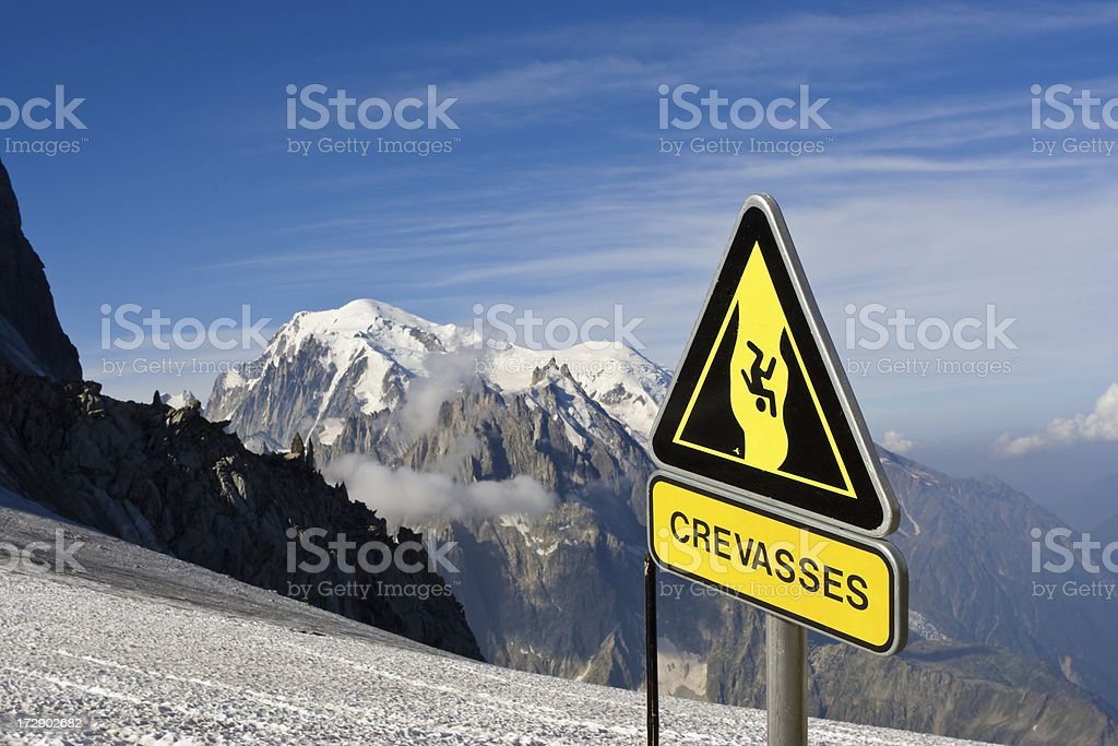Danger Crevasses stock photo