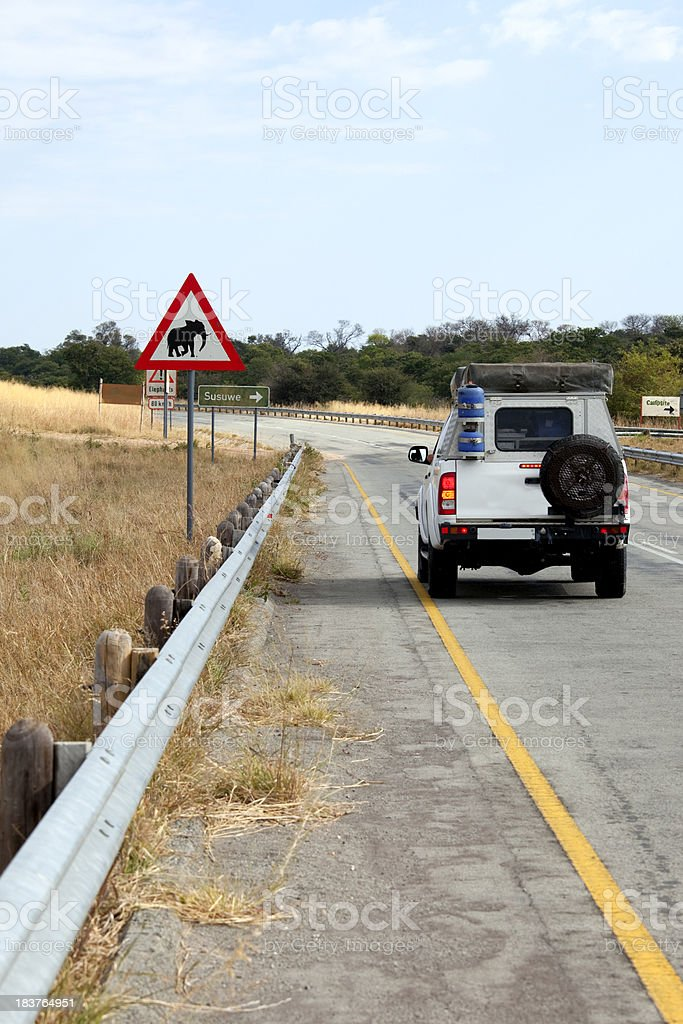 Danger Elephants Road Sign stock photo