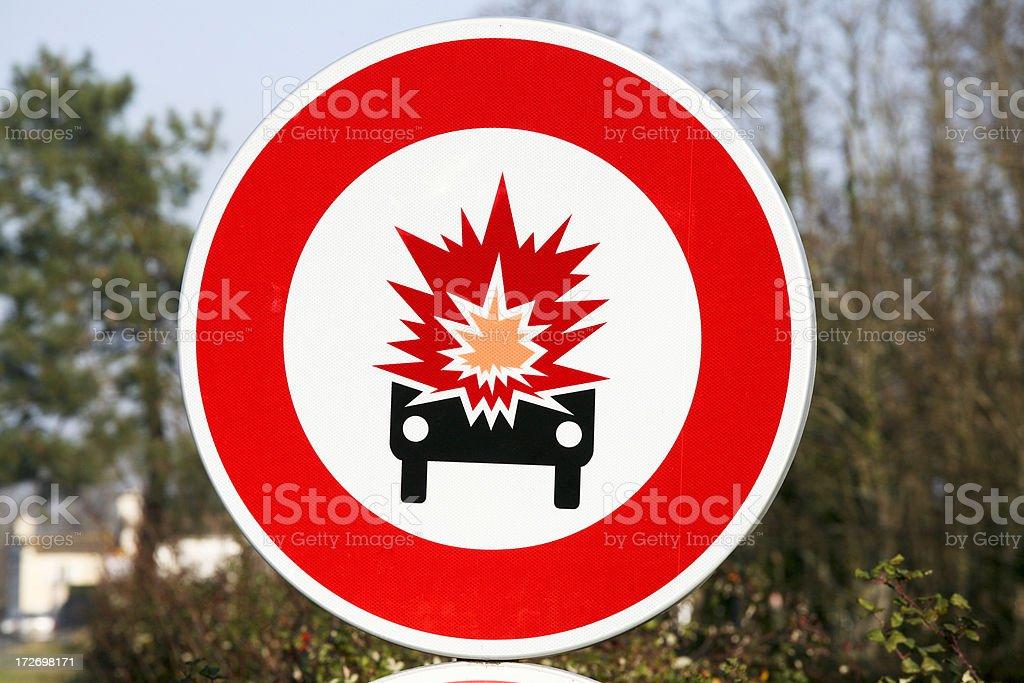 Danger exploding car sign stock photo