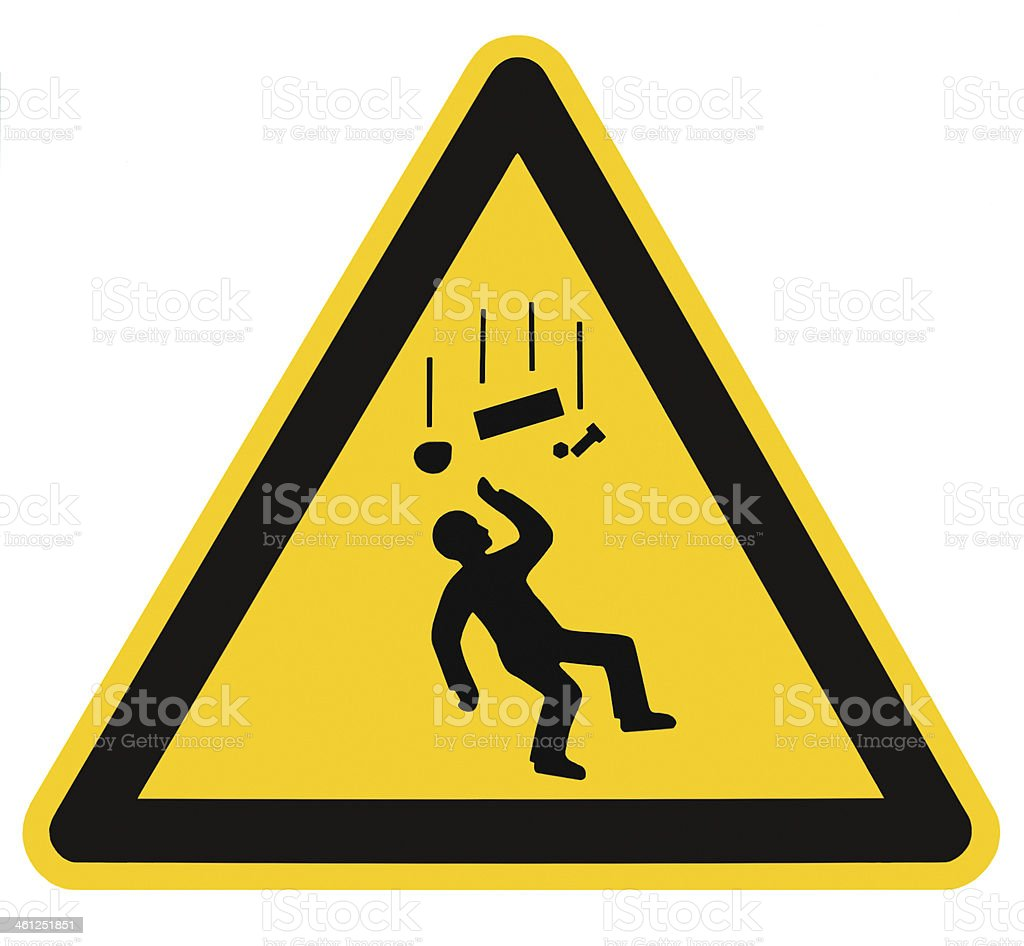 Danger Falling Objects Warning Sign Isolated Macro stock photo