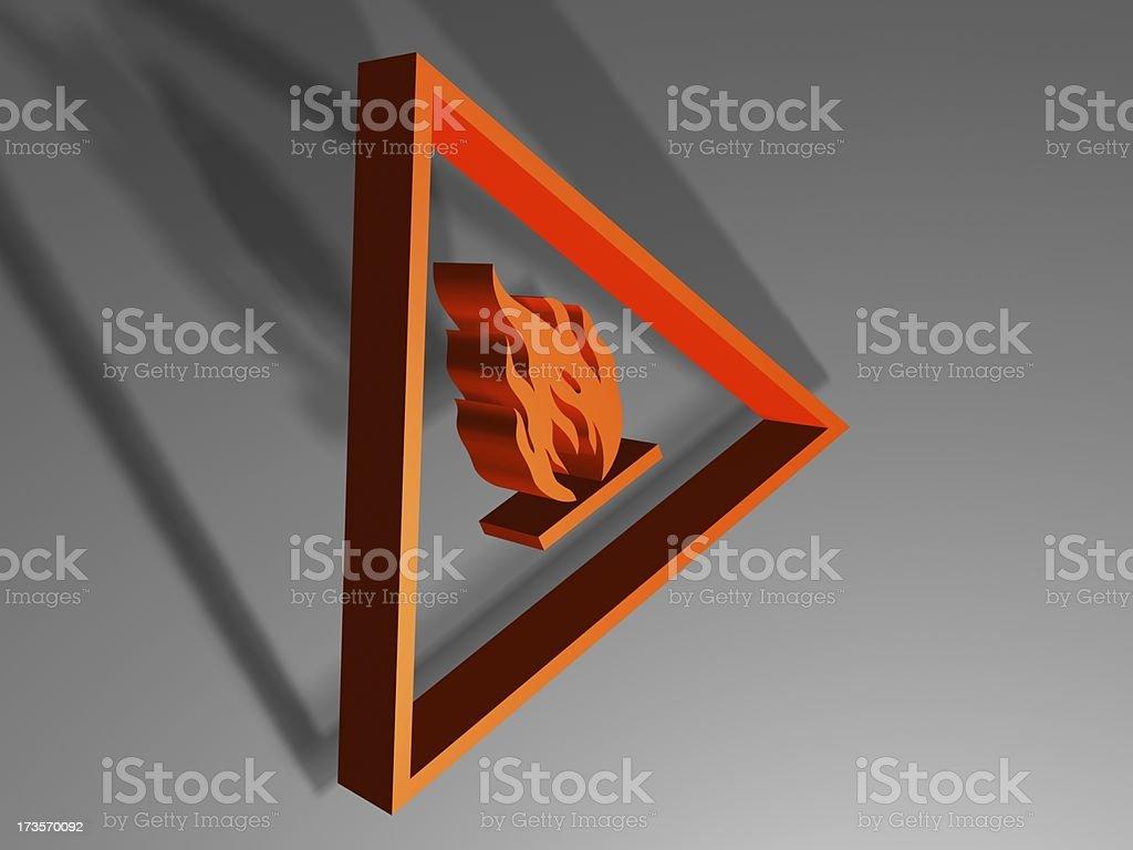danger fire 3d sign stock photo