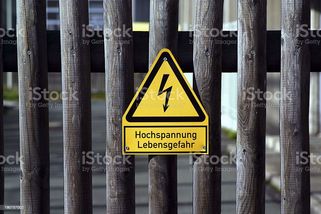 danger for your life - high voltage sign royalty-free stock photo