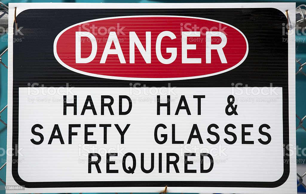 Danger Hard Hat & Safety Glasses Required Sign stock photo