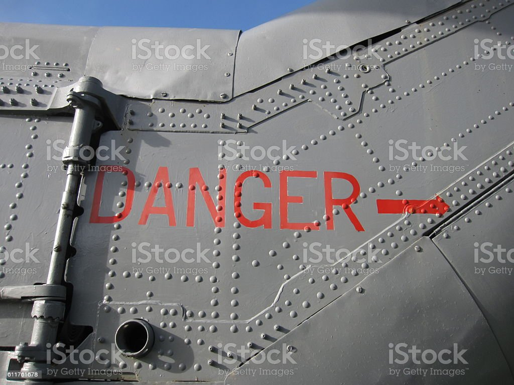 Danger, Helicopter Tail Rotors stock photo