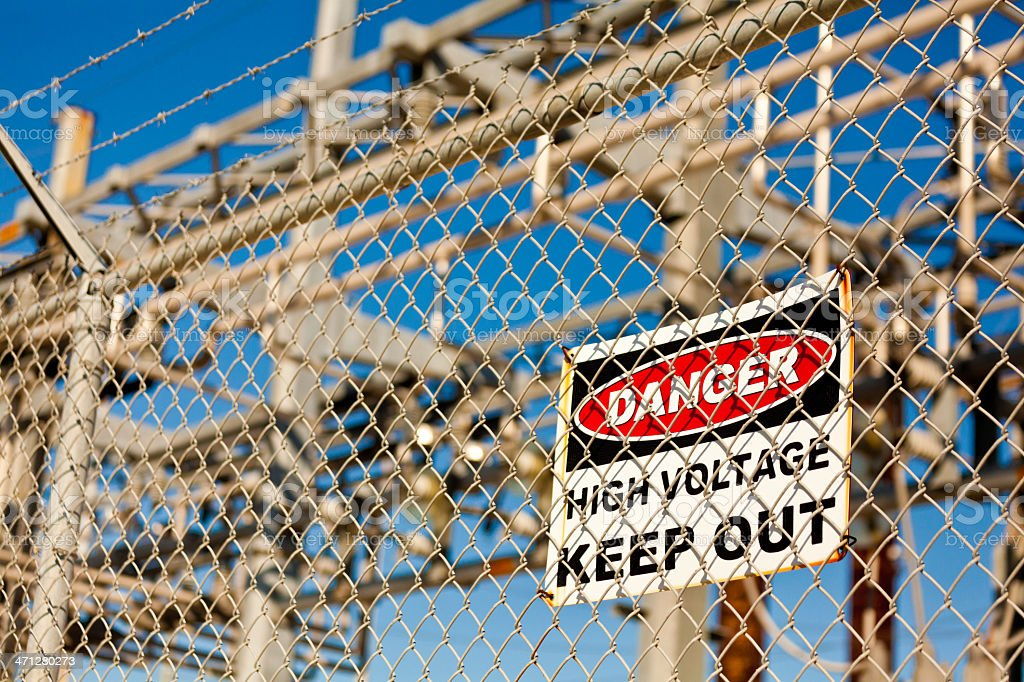 Danger High Voltage Keep Out Sign royalty-free stock photo