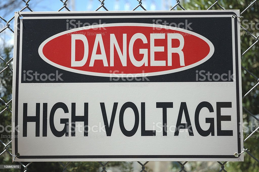 Danger High Voltage Sign! stock photo