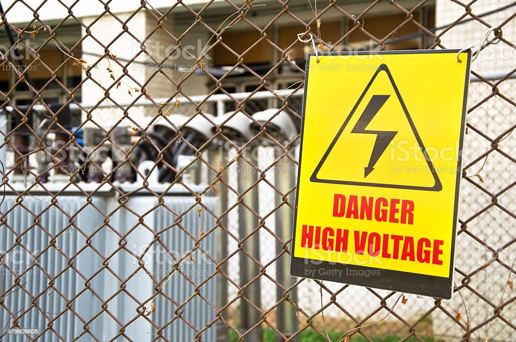 Danger high voltage warning sign stock photo
